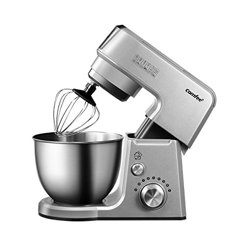 Comfee 2.6Qt Die Cast 7-in-1 Multi Function Tilt-Head Stand Mixer with SUS Mixing Bowl, Whisk, Hook, Beater, Splash Guard.4 Outlets, 7 Speeds & Pulse, 15 Minutes Timer Planetary Mixer (Silver) by COMFEE