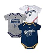 Milwaukee Brewers Baby/Infant Three Strikes  3 Piece Creeper Set 0-3 Months
