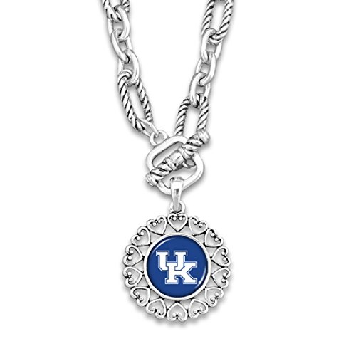 FTH Kentucky Wildcats Silver Tone Necklace With Round Logo Charm Outlined in Hearts