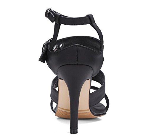 Beauqueen Bombas Open-Toe Anke Correas Stiletto Talón Verano Cinturón Hebilla Sandalias Offoces Casual Personalizado Europa Tamaño 32-43 Black