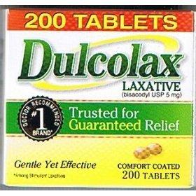 Colon 200 Tablets (Dulcolax Stimulant Tablets 200 count, 1 Bottle)