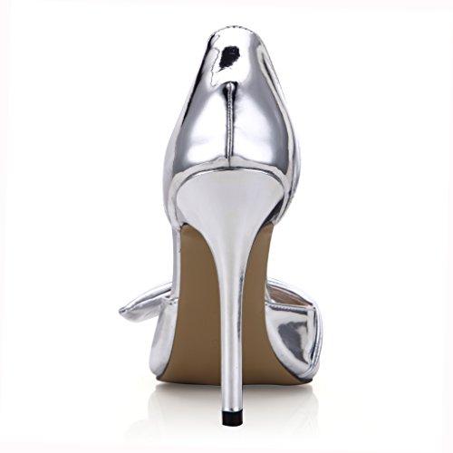 Stilettos Sandal DolphinGirl DOrsay Women Prime Dress Pumps Shoes Silver Bowtie Peep Fashion Heeled g4wEqqTY