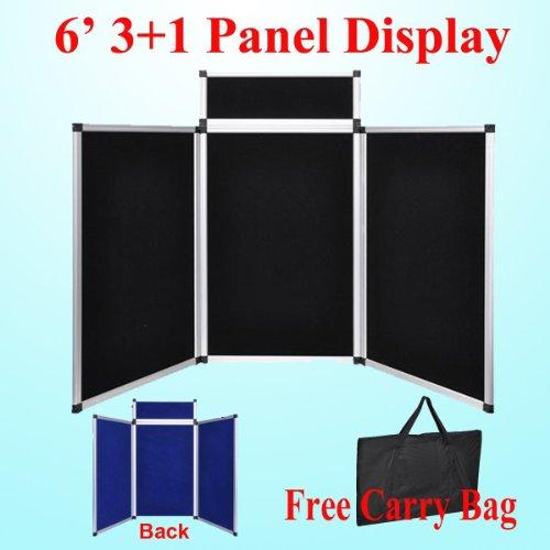 DSM Tm 6' 3+1 Hoop and Loop Black / Blue 2 Side Panel Header Trade Show Display Presentation Tabletop 6ft 3 Panel Folding by Display Sign Mart