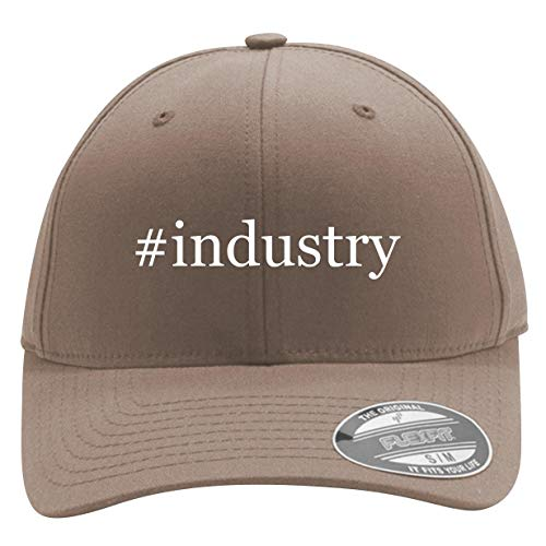 #Industry - Men's Hashtag Flexfit Baseball Cap Hat, Khaki, Large/X-Large (Best Hashtags For Wedding Industry)