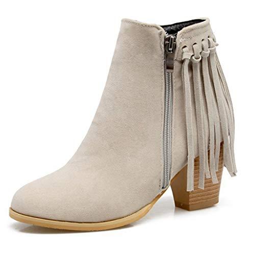 GIY Women's Chunky Block Heel Ankle Boots Tassel Suede Velvet Round Toe Side Zip Bootie Dress Short Boots Beige