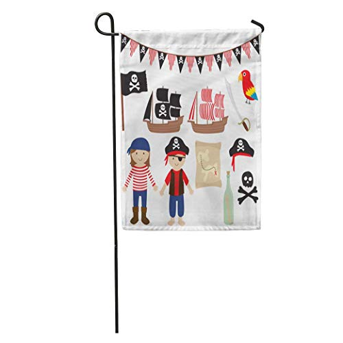 - jiebokejiHFGD Garden Flag Ship Pirates and Sailing Collection Boat Parrot Flag Bunting Skull Home Yard House Decor Barnner Outdoor Stand 12x18 Inches Flag