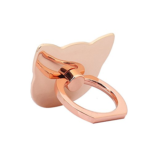 Phone Ring Stand Holder, [Rose Gold Cat] 360 Degree Rotation Phone Grip Kickstand For Universal Smartphones Cell - Cat Rose Gold