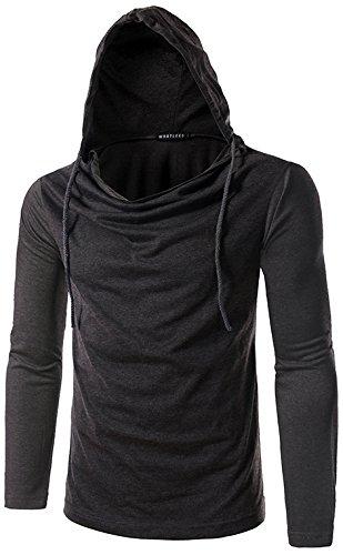 Whatlees Herren regular fit leicht Langarme Kapuzenpullover aus weicher Sweatstoff B093-DarkGrey-XL