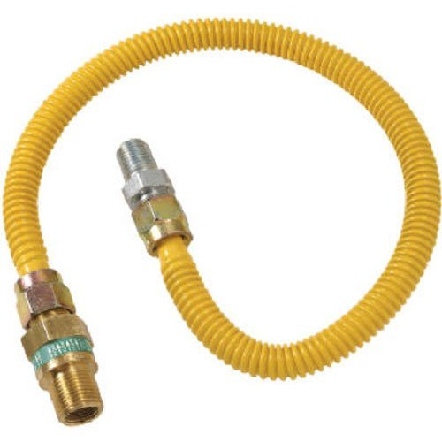 BrassCraft CSSD44R-18 P Safety PLUS Gas Appliance Connector with 1/2'' OD EFV and 1/2'' MIP x 1/2'' MIP x 18''