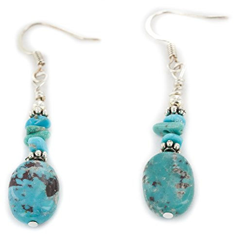 Native-Bay Delicate Authentic Dangle Made by Charlene Little Silver Hooks Natural Turquoise American Earrings