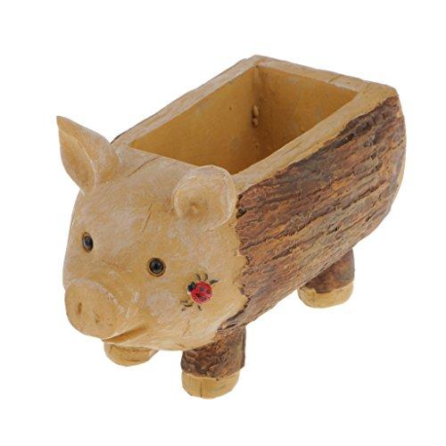 MagiDeal Ladybug Piggy Stump Flower Sedum Succulent Pot Planter Bonsai Box Plant Bed -