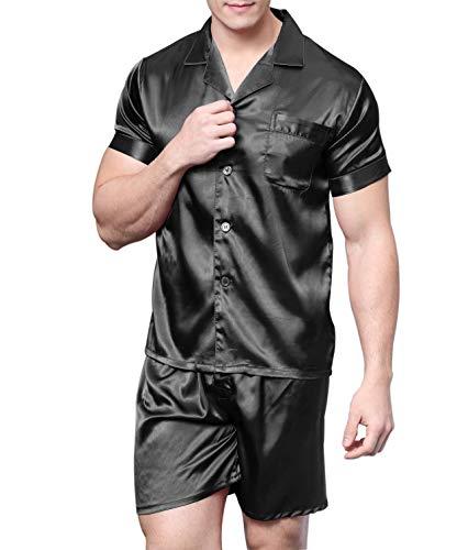 Men's Satin Pajamas Short Button-Down Pj Set Sleepwear Loungewear (Black, L) ()