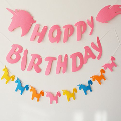 - GUAngqi Unicorn Happy Birthday Banner Party Photo Prop Banner Parties Decorations,Unicorn four-color