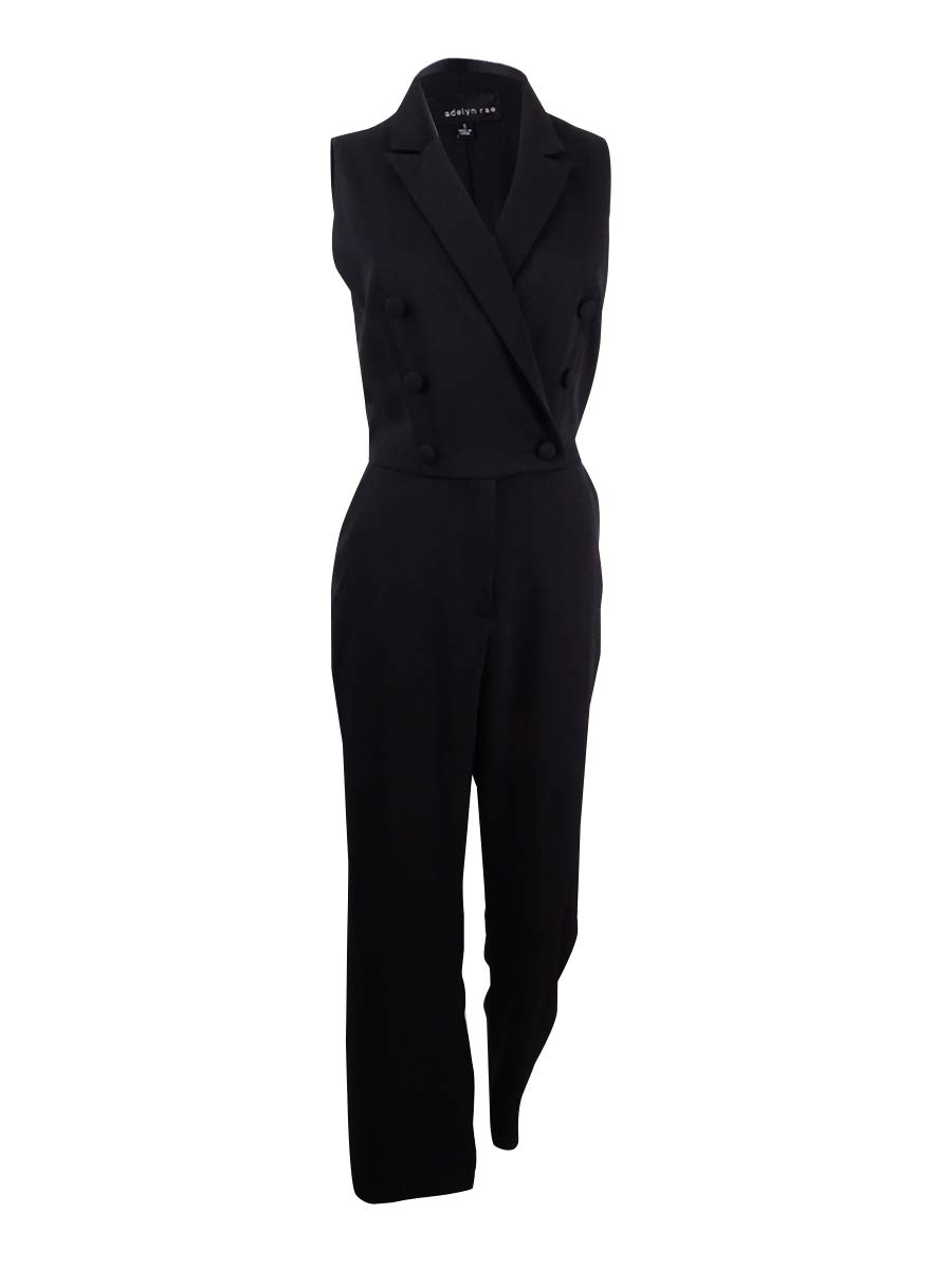 Adelyn Rae Women's Tuxedo Jumpsuit (S, Black)