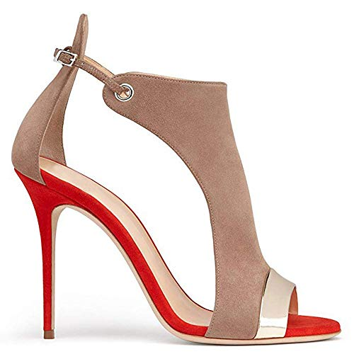 - Women's Stilettos Pumps, Dress Sandals Fashion High Heel Fish Sandals,Buckle Slingback Shoes Red
