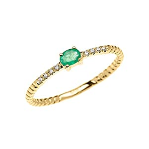10k Yellow Gold Diamond and Oval Solitaire Emerald Dainty Promise Ring