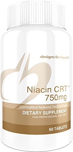 Designs for Health 750mg Niacin Flush-Free - Niacin CRT, Slow Timed Release Tablets (60 Tablets)