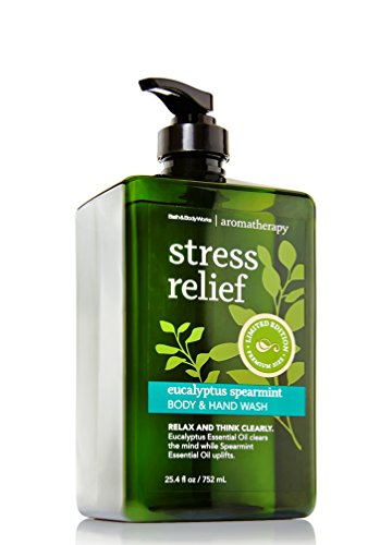 Bath and Body Works Eucalyptus Spearmint Body Wash and Soap -- 2in1 Hand Wash + Body Wash - Aromatherapy Stress Relief Limited Edition HUGE XL Premium Size 25.4 oz! (Stress Relief Soap Bar)