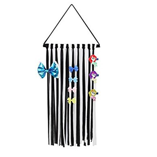 "Baby Girls Hair Ties Bow Holder 30"" Bow Sets-Small Hanger Hair Clips Storage Holder Organizer (Black+white)"