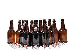 Mr. Beer 12 Count EZ Cap Swing Top Reusable Grolsch Bottles for Beer, Wine, Kombucha and Kefir, 16oz