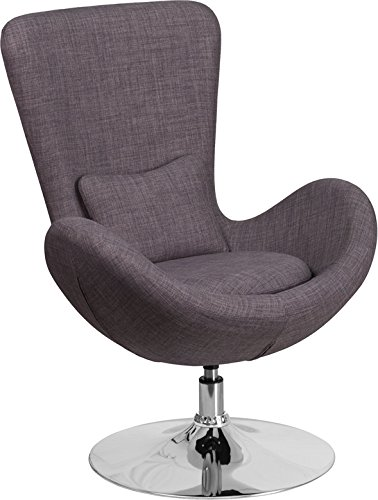 Series Reception Seating - Contemporary Design Dark Gray Fabric Egg Series Reception Lounge Accent Side Chair