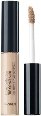 [the SAEM] Cover Perfection Tip Concealer SPF28 PA++ 6.5g #1 Clear Beige - High Adherence Concealer without Clumping and Cracking, Covers Blemishes, Freckles and Dark Circles