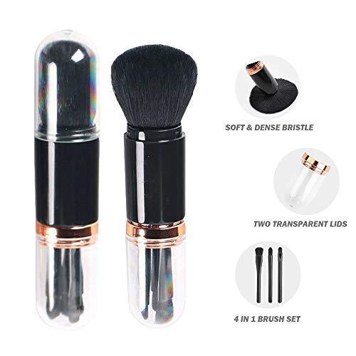 4 in 1 Makeup Brush Set Premium Synthetic Cosmetic Foundation Brush Blending Powder Blush Eye Shadows Make Up Brushes Kit with Lids, Foundation Makeup Brush Set for Travel & Household Use