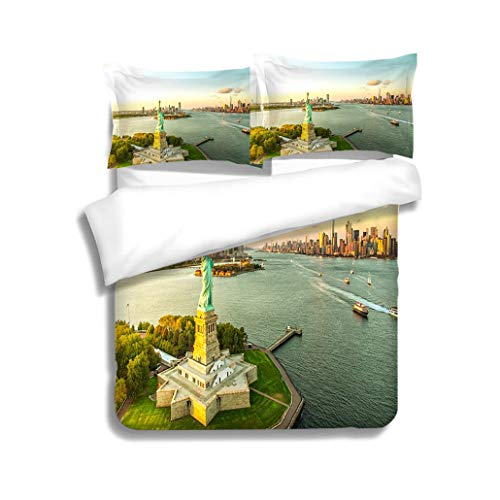 (MTSJTliangwan Family Bed Liberty Island Overlooking Manhattan Skyline 3 Piece Bedding Set with Pillow Shams, Queen/Full, Dark Orange White Teal Coral)