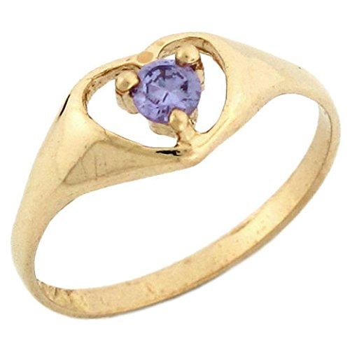14k Yellow Gold February Birthstone Synthetic Amethyst Heart Baby Ring