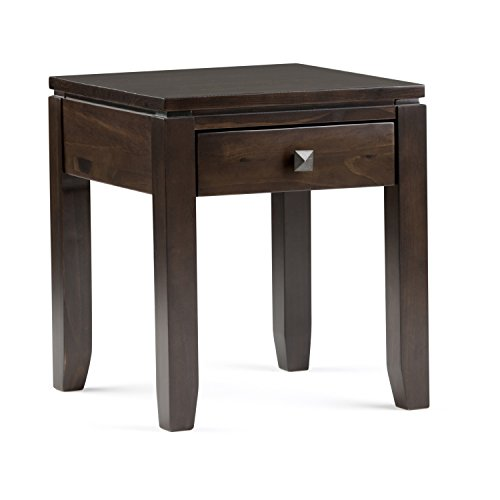 (Simpli Home INT-AXCCOS-END-CF Cosmopolitan Solid Wood 18 inch wide Square Contemporary End Side Table in Coffee Brown)