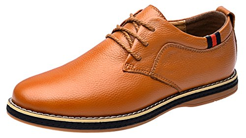 MOHEM Darren Men's Premium Genuine Leather Lace-up Oxfords Shoes(1687008Brown44)