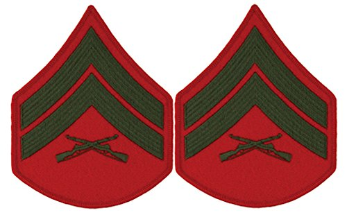 Green on Red USMC Chevrons - Corporal - Male ()