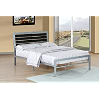 Furniture World Lloyd Contemporary Metal Bed with Ladder-Back Headboard, Full, Black and Gray