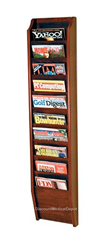 DMD Wall Mount Magazine Rack, 10 Pocket Display, Mahogany Wood Finish