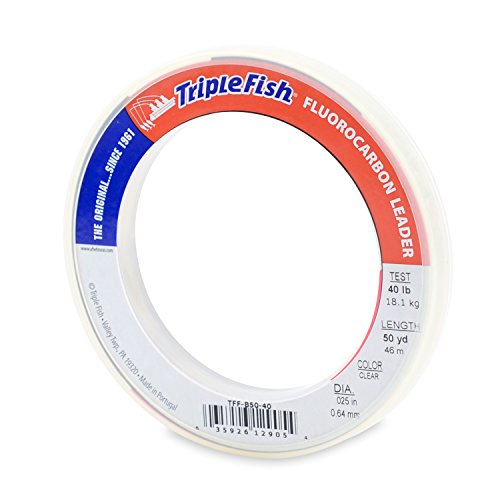 Triple Fish 40 lb Test Fluorocarbon Leader Fishing Line, Clear, 0.64 mm/50 yd