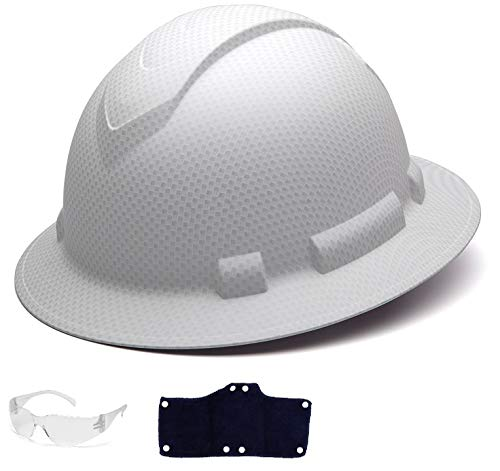 Pyramex Full Brim Hard Hat with Standard Ratchet Suspension Color Shiny White