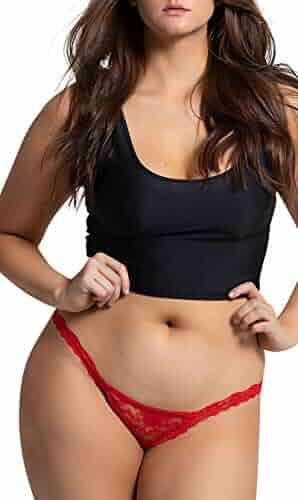13b13df9c06 Yandy Women Plus Size Low Rise Scalloped Lace Waistband Thong Red 3X 4X