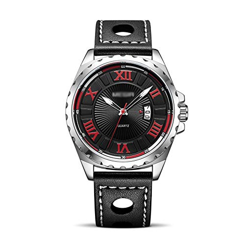 JHHXW Wristwatch Fashion Sports Calendar Leather Belt Waterproof Men's Quartz Watch,Black (Buckle Leather Faceted Belt Black)