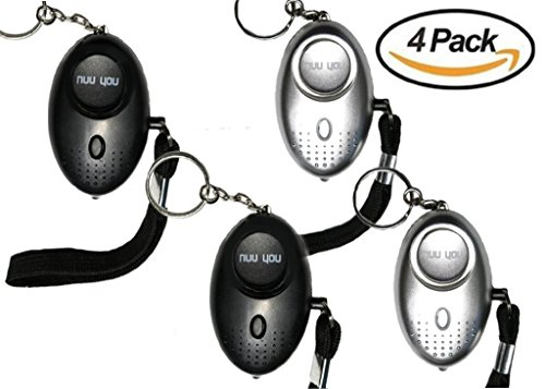 Defense Alarm - Personal Alarms for woman siren 140 DB with LED light (4 PACK),nuu you small Emergency Safety Sound Alarm Keychain for personal alarm Women/Kids/Girls/Elderly Self Defense Device Policeman Recommend