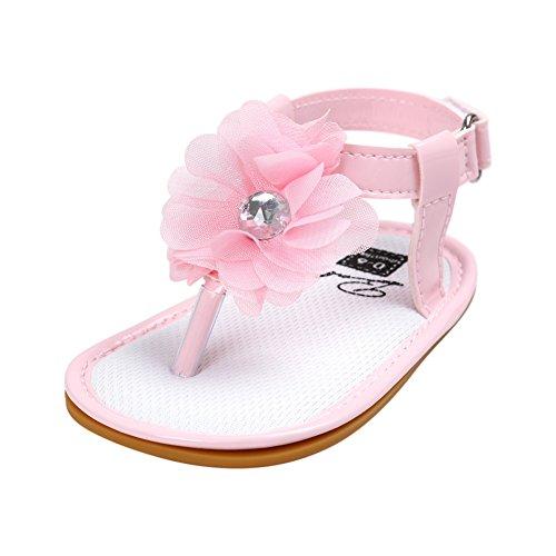 Sandalias De Bebe,BOBORA Prewalker Zapatos Primeros Pasos Para Bebe Verano Baby Princesas Sandalias Suelas De Caucho Zapatos De Bebe rosa
