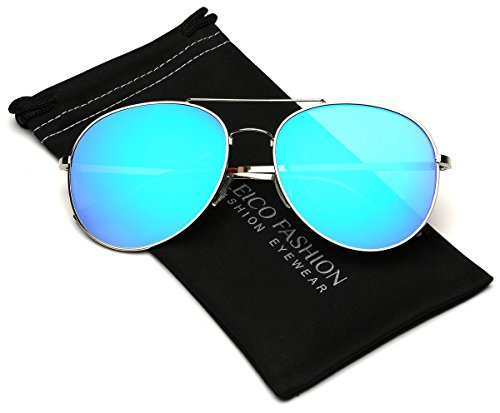 Flat Lens Oversized Mirrored Aviator Sunglasses (L-XL size - Shades Big For Heads