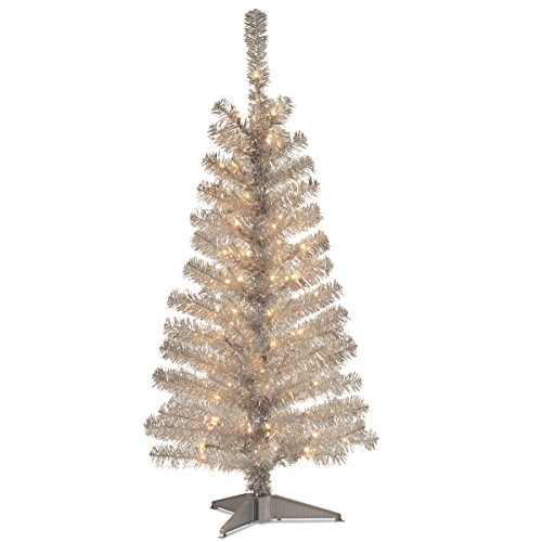 National Tree 4 Foot Silver Tinsel Tree with Plastic Stand and 70 Clear Lights - Christmas Tinsel Trees