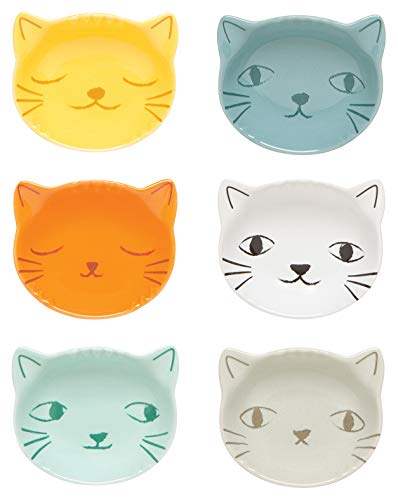 Now Designs L46003aa Purrfect Cat Shaped Pinch Bowls, Set of Six
