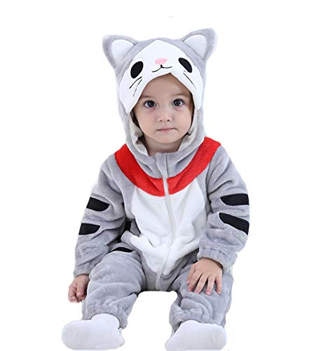 Tonwhar Baby Animal Cat Onesie Romper Halloween Costume (90 Ages 12-18 Months, Tabby Cat) -