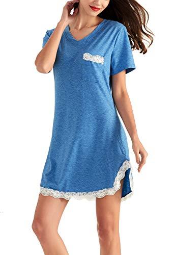 Lace V-neck Nightgown - GUANYY Sleepwear Womens Nightgown Cotton Sleep Shirt Dress Short Sleeve Lace V Neck Trim Soft Nightshirt(Cobalt Blue,Small)