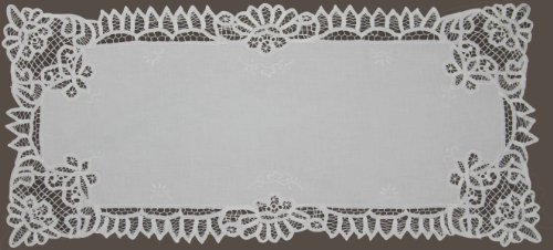 WHITE Battenburg Lace Table Runner 16x53