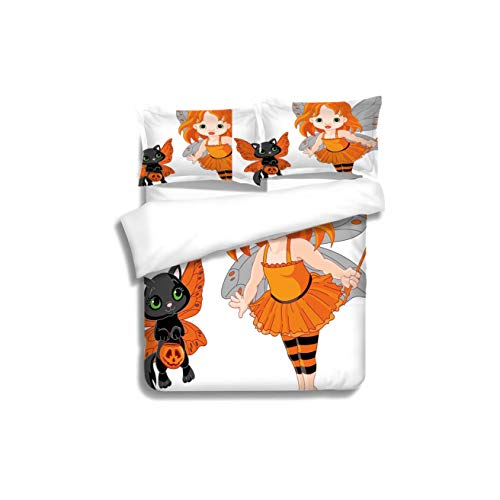 Duvet Cover Set Halloween Halloween Baby Fairy and Her Cat in Costumes Butterflies Girls Kids Room Decor Decorative 3 Piece Bedding Set with Pillow Shams, Queen/Full, Dark Orange White Teal Coral]()
