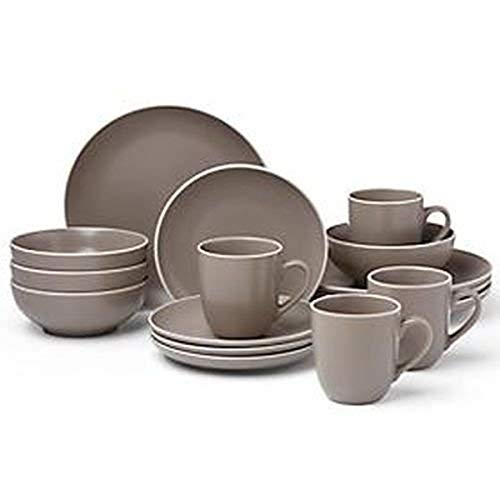 Dansk Kisco 16Pc Dinnerware Set, 21.90 LB, Taupe/Grey
