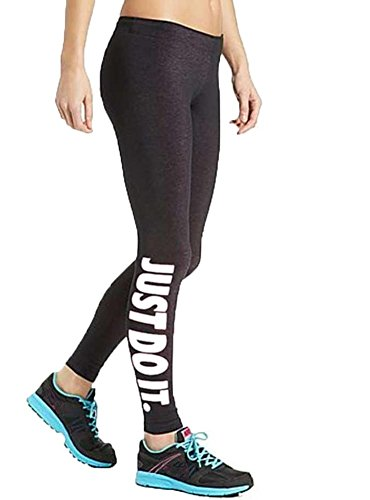 InnoGene Women's Yoga Sport High Waist Cropped Leggings White Just do it