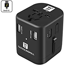 Universal Travel Power Adapter with 4 USB Charging Ports International Worldwide AC Wall Outlet Plug Charger Type A, Type G, Type F, Type I for US, UK, Europe, AUS